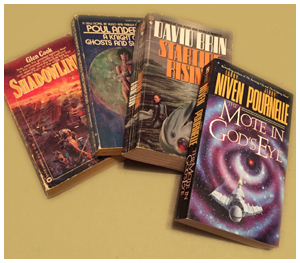 Sci-fi novels by Poul Anderson and David Brin